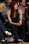 Canadian actress Nina Dobrev sits court side for Game 5 of the NBA Western Conference final playoff series between the Los Angeles Lakers and the Phoenix Suns in Los Angeles