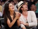 Canadian actress Dobrev sits court side with actor Somerhalder during Game 5 of the NBA Western Conference final playoff series between the Los Angeles Lakers and the Phoenix Suns in Los Angeles