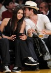 Canadian actress Dobrev sits court side with actor Somerhalder during Game 5 of the NBA Western Conference final playoff series in Los Angeles