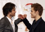 Actors Wesley and Somerhalder greet each other during the opening ceremony of the 50th Monte Carlo television festival in Monaco